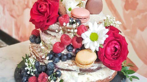 birthday naked layered berry cake
