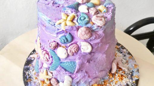 mermaid coconut mango birthday cake