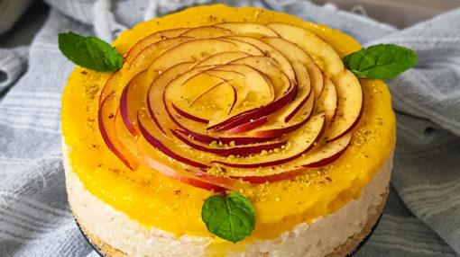 no bake mango rice pudding cake - milchreiskuchen